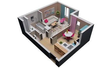1-комнатная квартира в ЖК Квартал на Никулинской