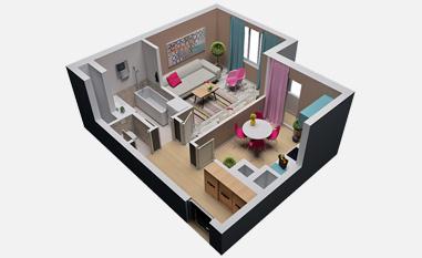 1-комнатная квартира в ЖК Серебрица